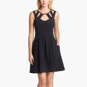 Betsey Johnson dress black fit and flare caged